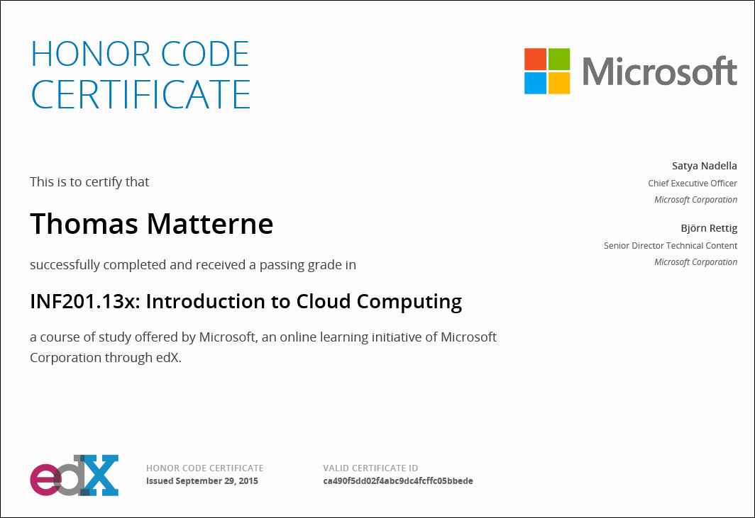 Neues Zertifikat: Introduction to Cloud Computing